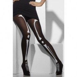 Opaque Tights Black with Skeleton Print