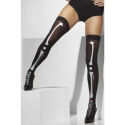 Opaque Hold-Ups Black with Skeleton Print
