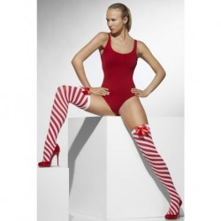 Opaque Hold-Ups Red & White Striped with Bows