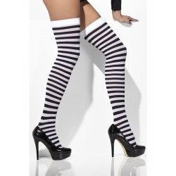 Opaque Hold-Ups Black & White Striped