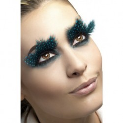 Eyelashes, Large Feather With Aqua Dots, Contains Glue