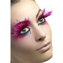 Eyelashes Pink with Feather Plumes Contains Glue