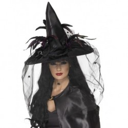 Witch Hat Feathers and Netting Black Deluxe