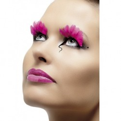 Eyelashes Neon Pink Feather Contains Glue