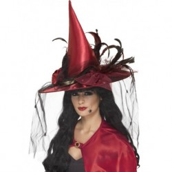 Witch Hat Deep Red with Net and Feathers Deluxe