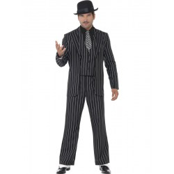 Vintage Gangster Boss Costume, With Jacket, Tie, Waistcoat and Mock Shirt, Trousers