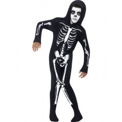 Skeleton Costume, Black, All In One with Hood